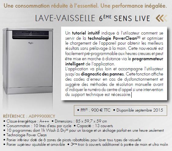 lave vaisselle 6ème sens Live