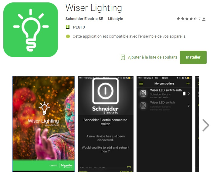 Application Wiser Lighting de Schneider Electric