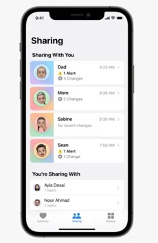 Rien à installer avec Apple Health Sharing
